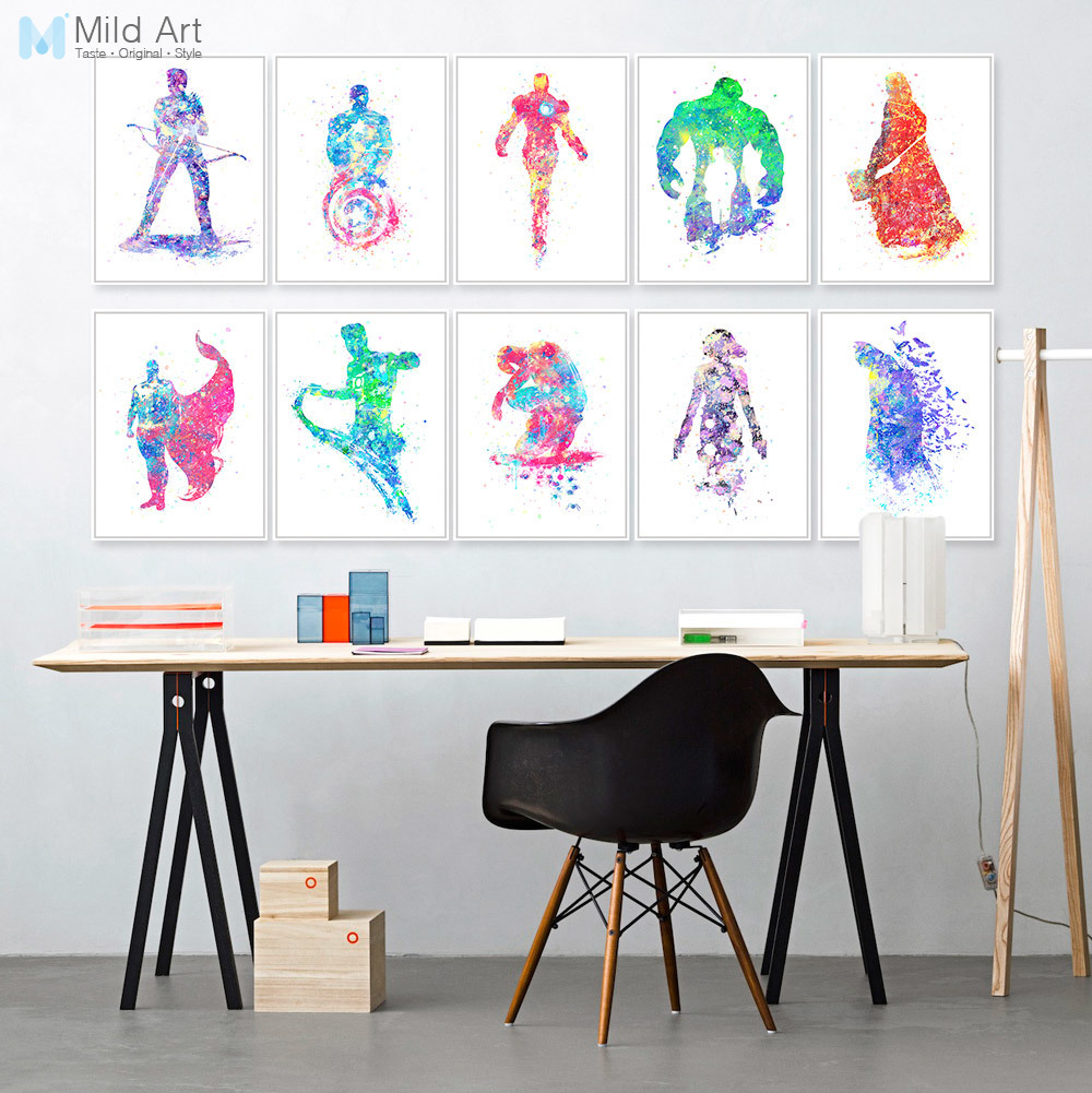 Watercolor Superhero Avenger Infinity War Batman Movie Poster Print Nordic Kids Room Wall Art Picture Home Deco Canvas Painting image