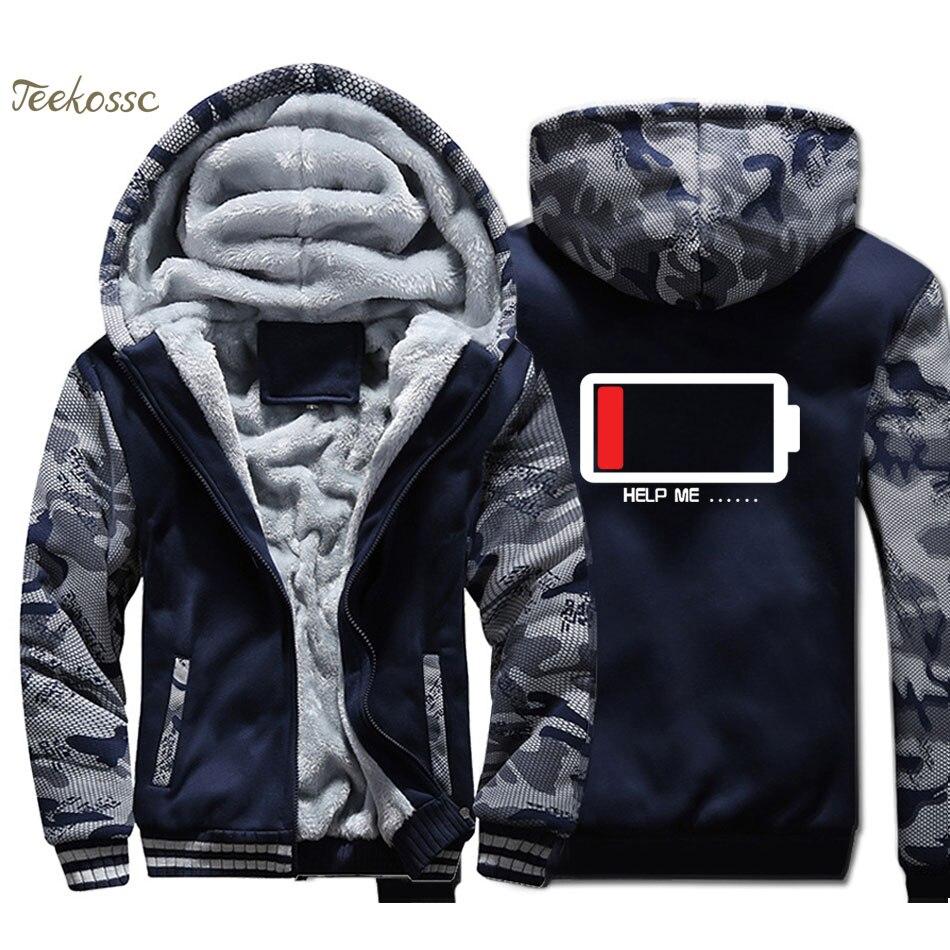 Creative Help Me Hoodie Men Funny Print Hooded Sweatshirt Battery personality Design Coat Winter Jacket Thick Fleece Streetwear