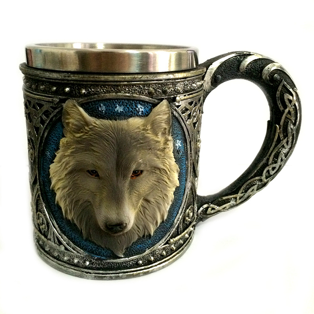 Horror 3D Realistic Wolf King Skull Mugs Double Wall Stainless Steel Animal Wolf Resin Mug Cup Geek Coffee Cup Christmas Gift 1