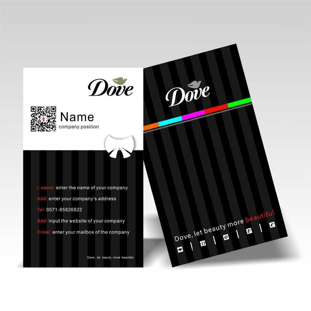 Full color printing company - Vertical Design Business Card 300gsm Coated Paper Full Color Printing Logo Two Dimension 200pcs Lot