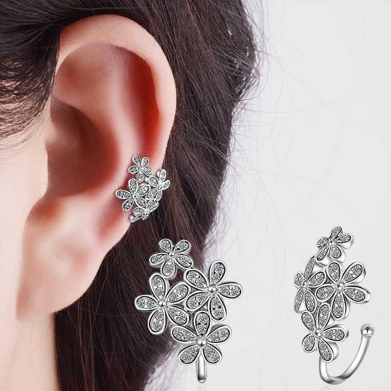 Cubic Zirconia Earrings for Women Metal Flower Clip Earrings without Piercing Girl Women Puncture without Ear Clip Earrings 2017