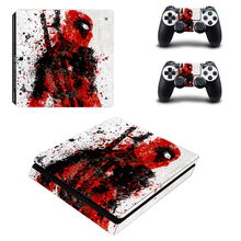 DeadPool Decal PS4 Slim Skin for Playstaion 4 Console PS4 Slim Skin Stickers+2Pcs Controller Protective Skins