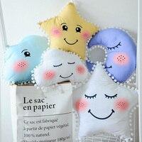 Cartoon Star Moon Smiling Face Children Sleep Cushion Cute Clouds Eyelash Kids Room Decoration Plush Pillow
