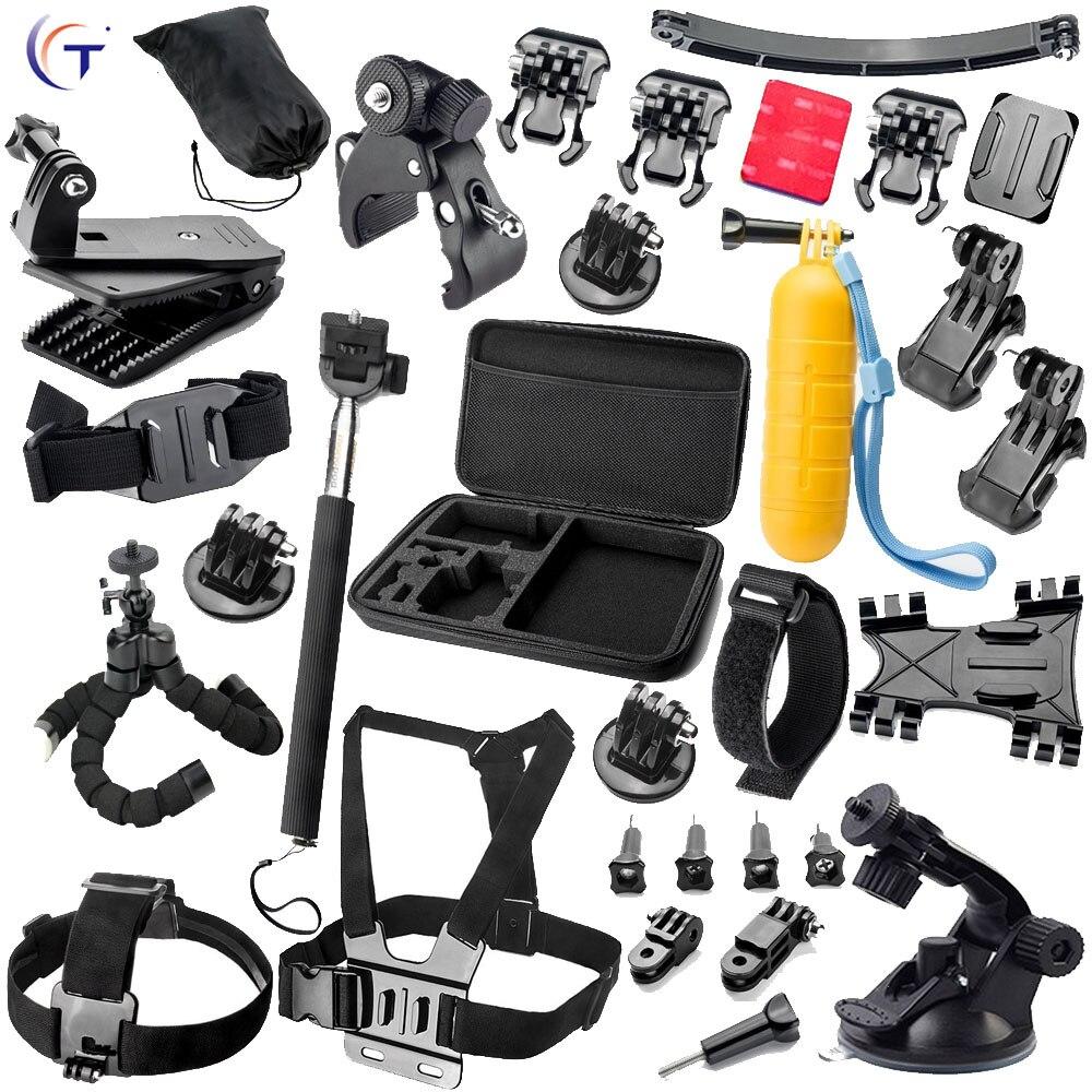 Gopro Accessories Monopod Bracket Helmet Extention Kits Berg Chest Belt Holder Bobber For Go pro hero 5 4 3 + xiaomi yi set