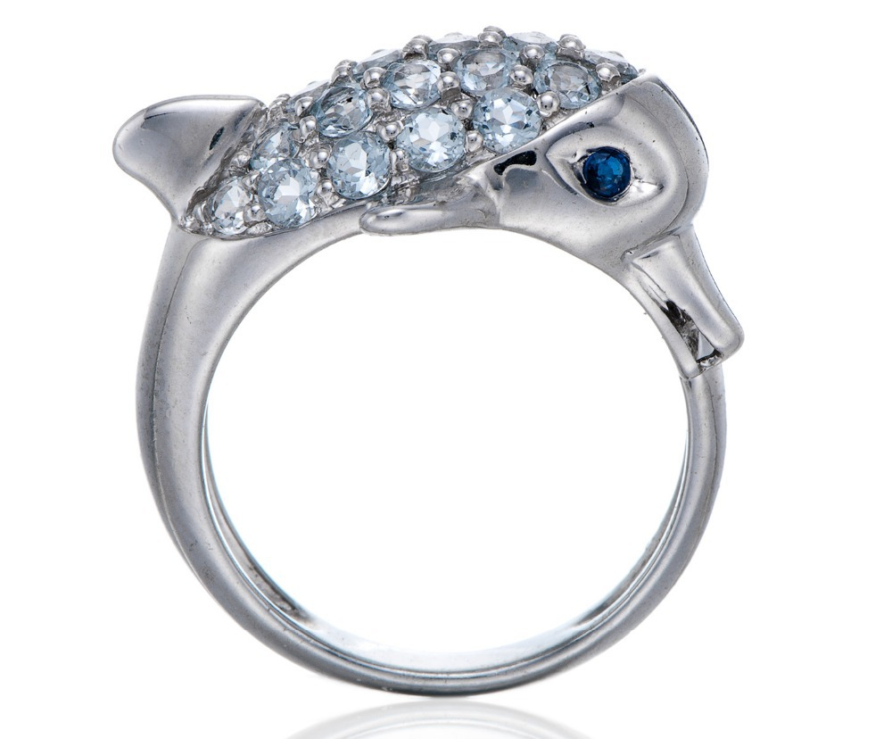 Hutang Sapphire Jewelry Natural Aquamarine Gemstone Rings Punk Dolphin Love Ring 925 Sterling Silver Jewelry Cocktail Koyle Anel