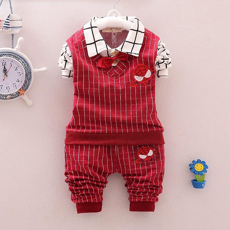 2016 новорожденного мальчика и девочка одежда устанавливает 100% хлопка + клетчатые брюки паук 2 компл. из высококачественной детской костюмы