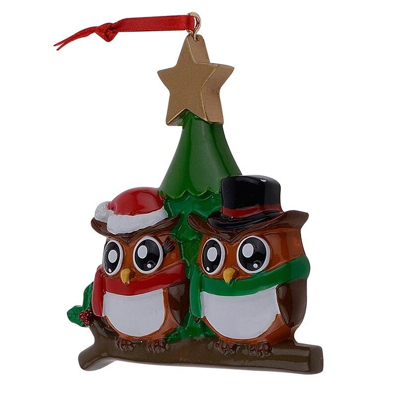 Familia de búhos de 2 adornos navideños personalizados de brillante - Para fiestas y celebraciones - foto 5