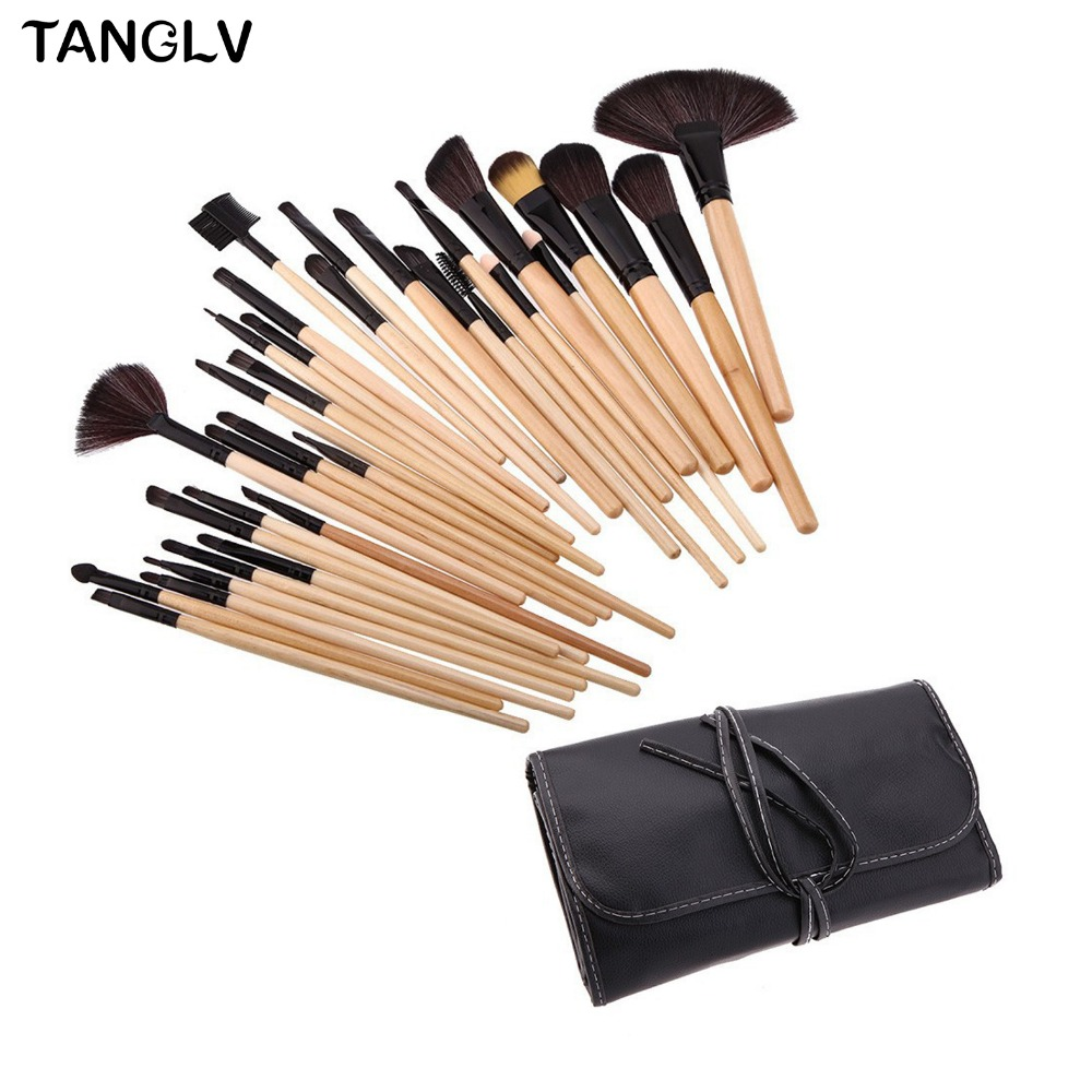 32Pcs Professional Makeup Brushes Eyeshadow Eyeliner Cream Make up Brushes Brocha Maquillaje with Bag + Sponge Puff Cosmetic Kit 8pcs makeup brushes cosmetics eyeshadow eyeliner brush kit 15 color concealer facial care camouflage makeup palette sponge puff