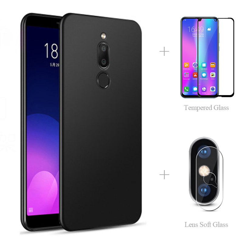 Matte Back Cover Case + Full Cover Tempered Glass + Lens Protective Glass For Meizu Note 9 X8 V8 M8 Lite 16th Plus 16X 15 M 8 V