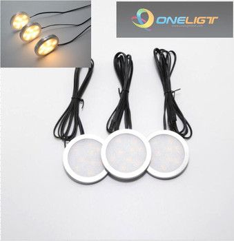 Free Shipping LED Under Cabinet Light Surface Mounted Downlight Spotlights Dimmable With RF Remote Driver 2 sets Indoor Lighting
