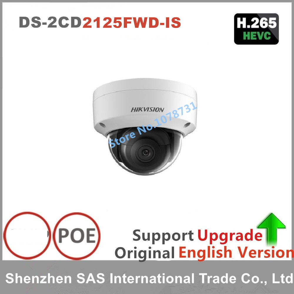 Hikvision English Version DS-2CD2125FWD-IS 2MP IP Ultra-Low Light Dome Camer Support EZVIZ PoE Audio IR 30M Outdoor Waterproof original oem english version ds 2cd2120f is mini dome camera full hd 2mp 2 8mm support poe