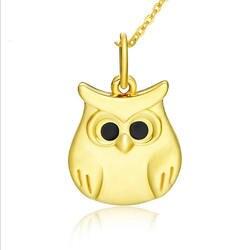 3D uil geel gouden hanger lucky leuke dier Milano gouden hanger