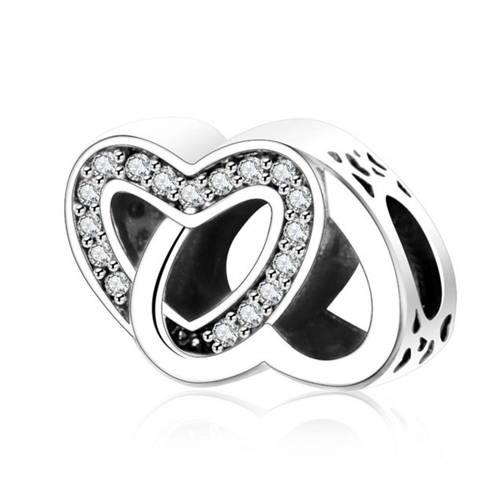 Fit Pandora Charm Original Bracelet 925 Silver Color Clear CZ Entwined Love Heart Valentines Day Gift Interlocked Hearts Bead