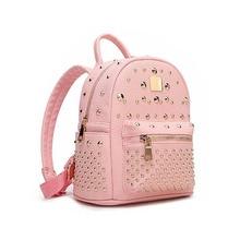 Новинка 2017 высокого класса красоты рюкзак корейской моды с заклепками из искусственной кожи женский пакет тенденция чистый цвет путешествия дамы небольшой рюкзак