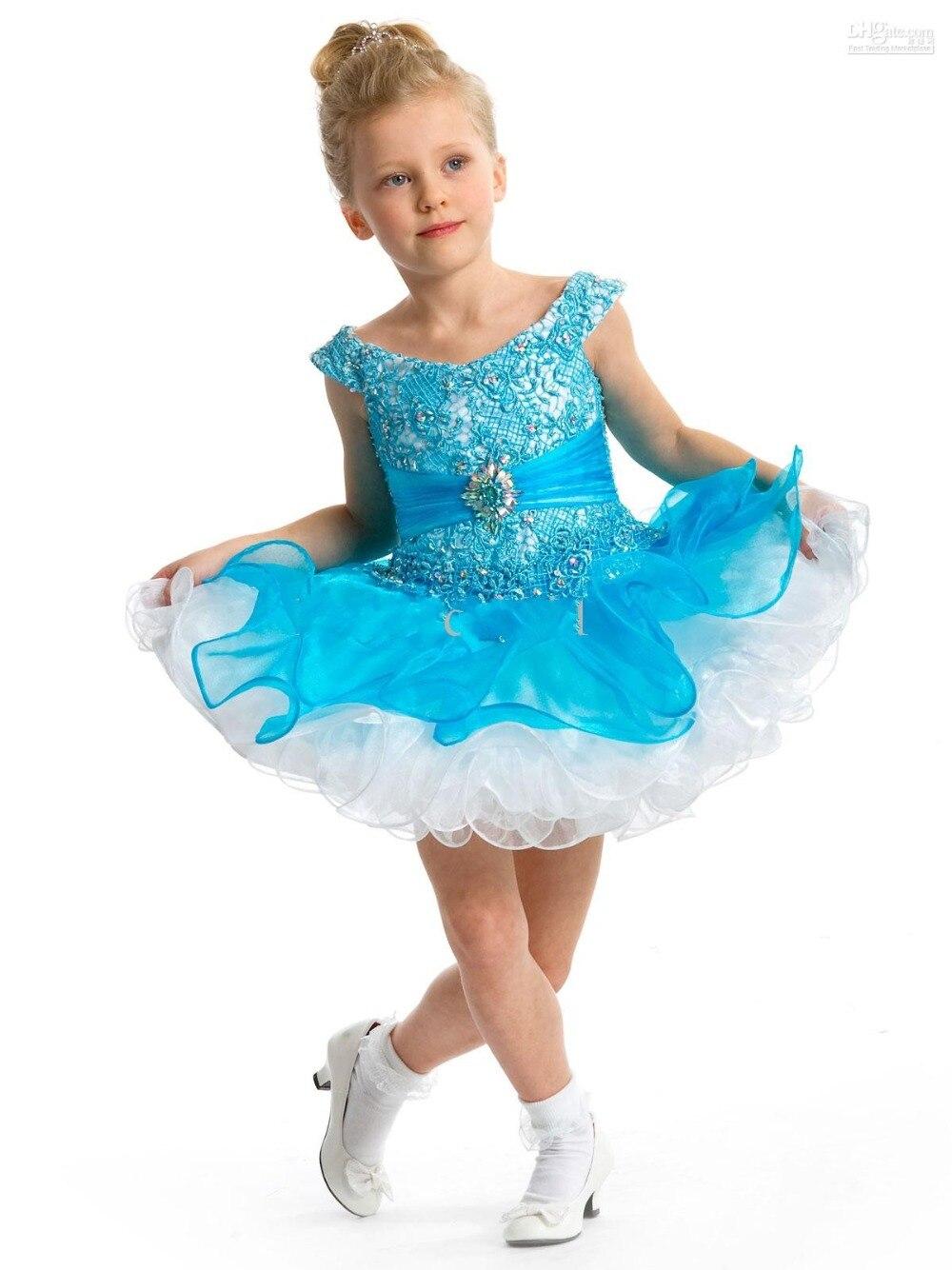 2016 Light Sky Blue Little Girl Prom Dresses Off Shoulder Lace ...