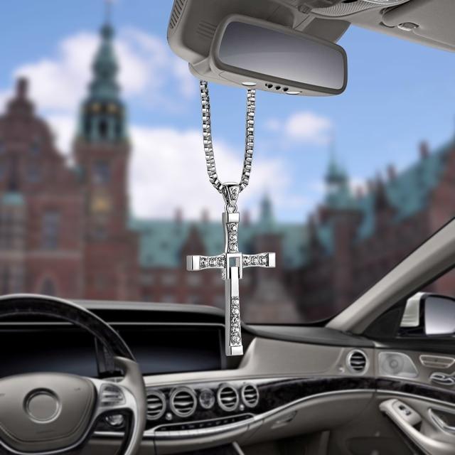 Crystal Metal Christian Cross Automobile Car Rearview Mirror