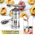 Stainless Steel Manual Pasta Machine Noodle Maker Pasta Spaghetti Press Machine Household Pressing Machine With 5 Pressing Mould