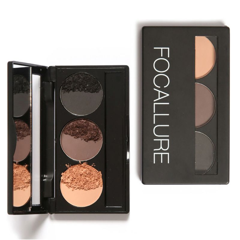 3 Colors Eyebrow Powder Palette Waterproof Sweatproof Smudge Proof With Mirror Eyebrow Brushes LH5