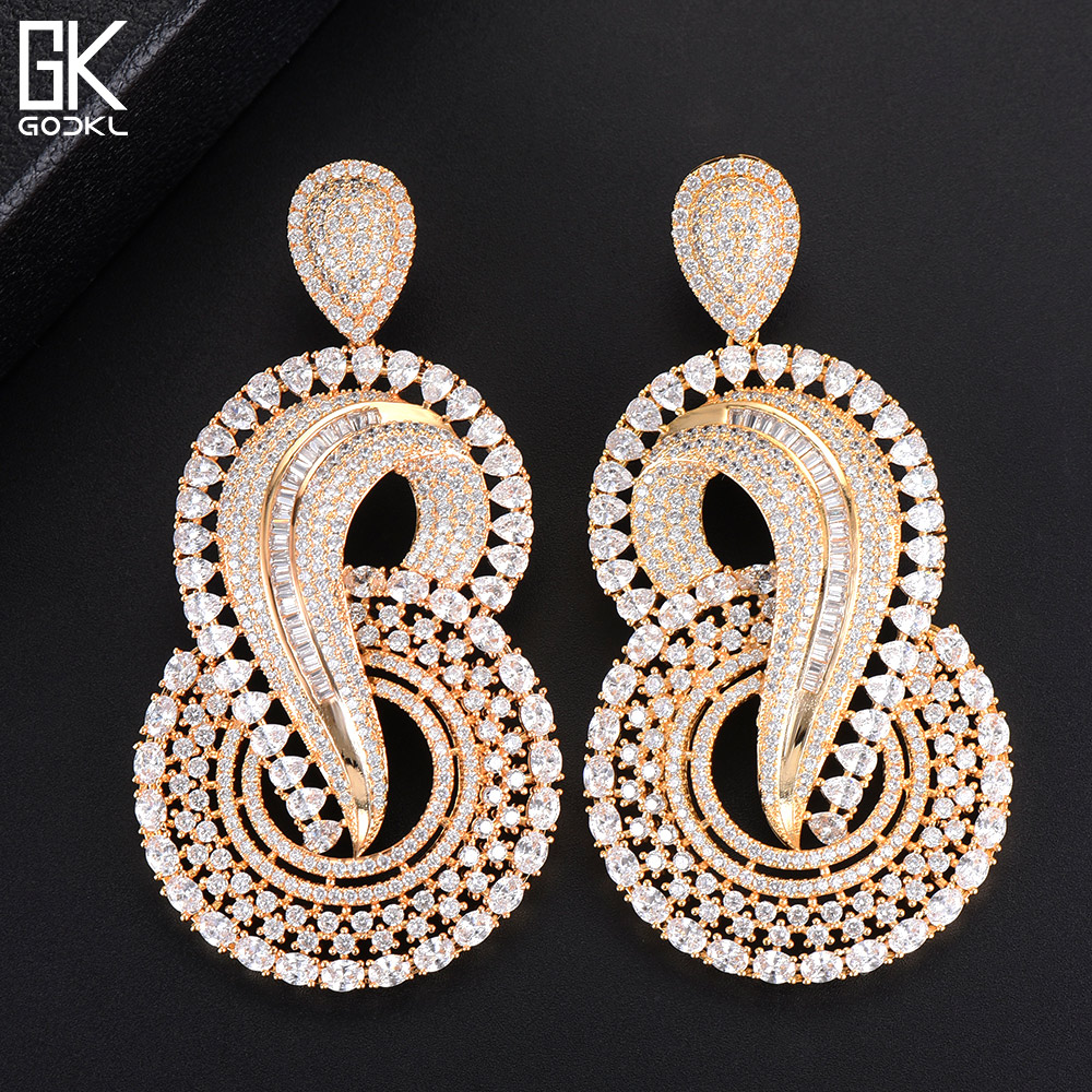 GODKI  Luxury Snails Infinity Indian Long Dangle Earrings For Women Wedding Zirconia CZ African Gold Bridal Dangle Earrings 2018GODKI  Luxury Snails Infinity Indian Long Dangle Earrings For Women Wedding Zirconia CZ African Gold Bridal Dangle Earrings 2018