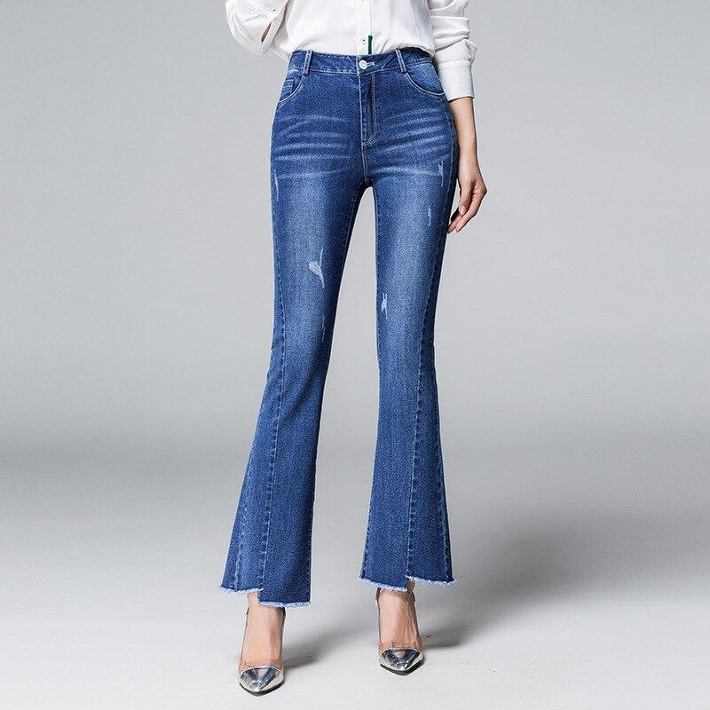 Mode Avec Glands Flare Skinny Jeans Bleu Cheville Stretch Longueur Automne Femmes 2018 Irrégulière Haute Taille Nouvelles Slim De Caractéristique 4Yxnqatq