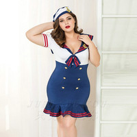 Good Quality Blue Navy Uniform Costumes Sexy Airline Stewardess Plus Size Fantasia Sheath Quente Hot Erotic Baby Doll Lingerie
