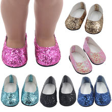 Beautiful 18 Inch Girl Doll Sequins Leather Shoes For 43cm Baby Doll Mini Shoes For Children Best Gift(China)