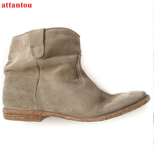 Suede Leather woman ankle boots 2017 street fashion concise style flat short boots slip-on female dress shoes autumn winter front lace up casual ankle boots autumn vintage brown new booties flat genuine leather suede shoes round toe fall female fashion