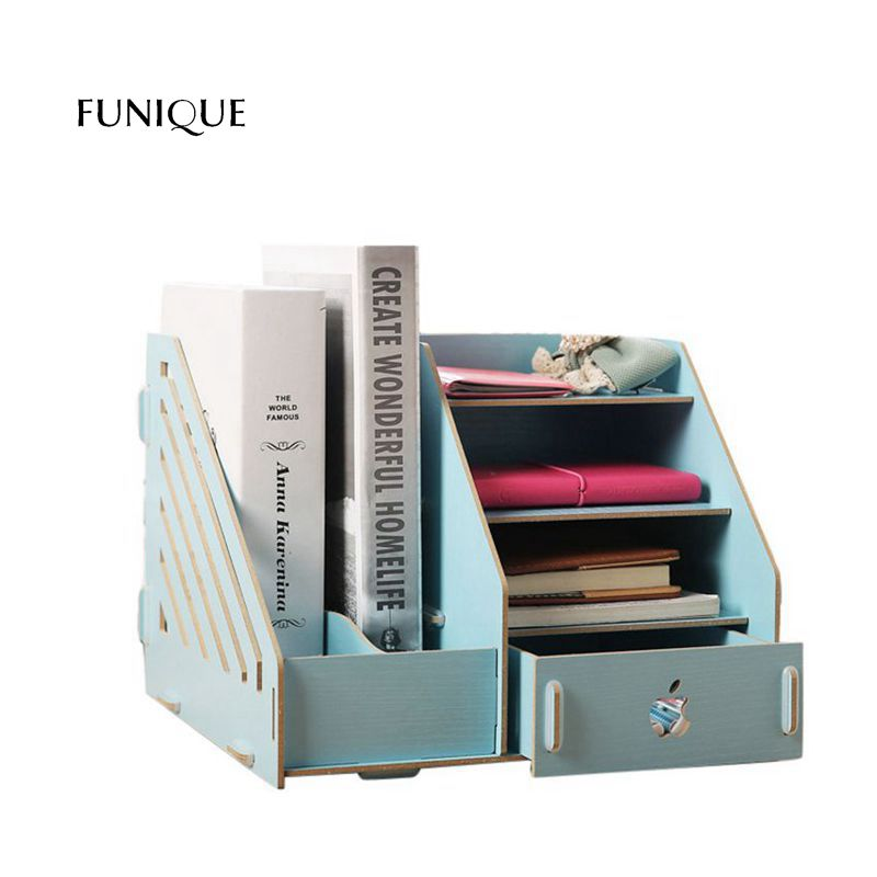 FUNIQUE Storage Drawer DIY Desktop Storage Creative Wooden Folder Storage Box For Jewelry Makeup Container Box Case Office Home ...