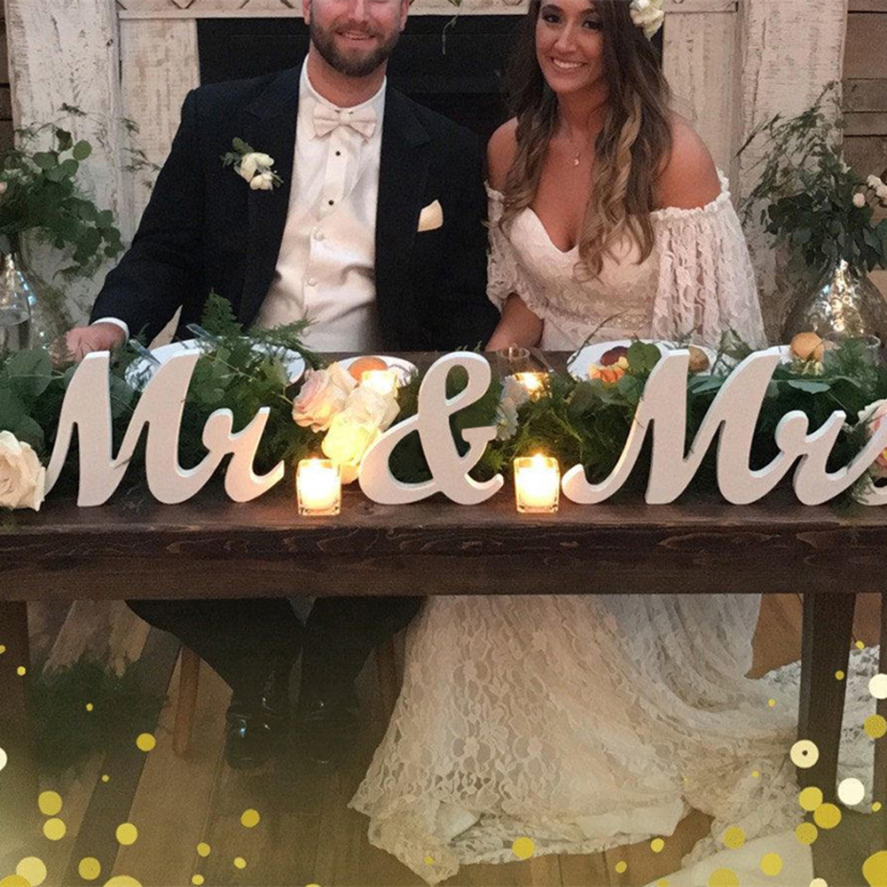 Wooden Mr Mrs Wedding Sign Decorative DIY White Letter Romantic Mariage Decoration Table Decor For ReceptionTake