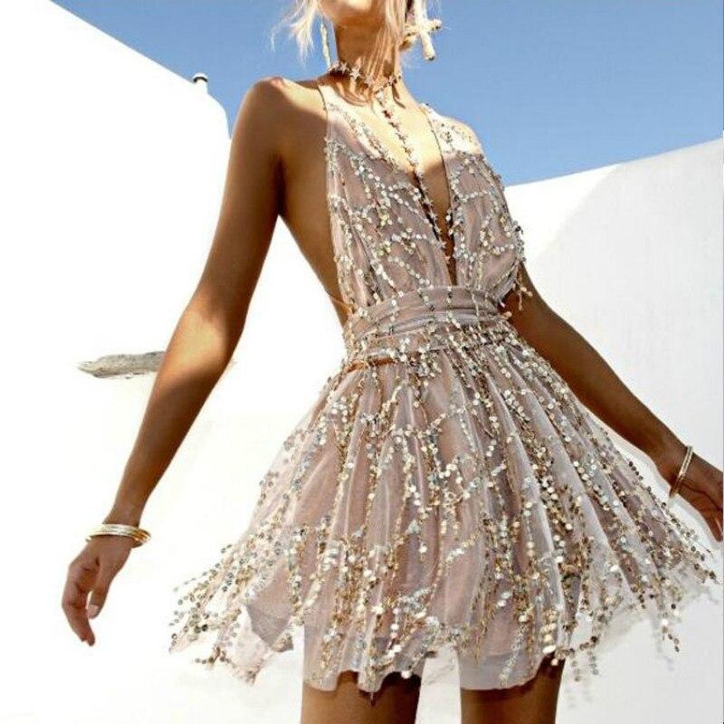 2018 Party dresses Sexy Dresses Women Backless Halter Black Gold Mini Dress Party Tassel Summer Dress