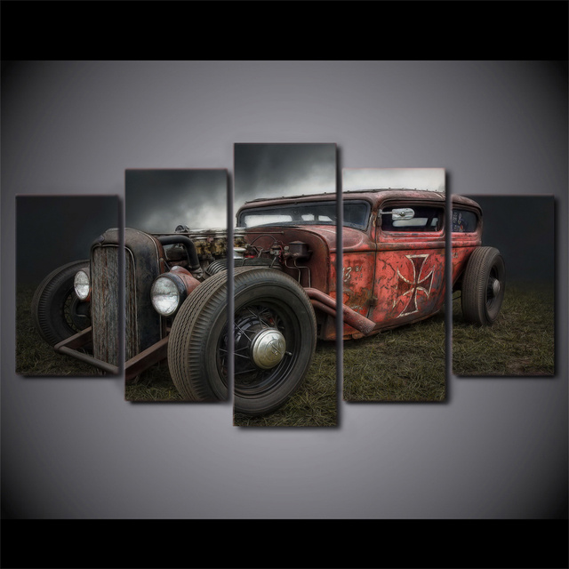Painting Canvas Wall Art Pictures Frame Home Decor For Living Room 5 Pieces Antique Hot Rod