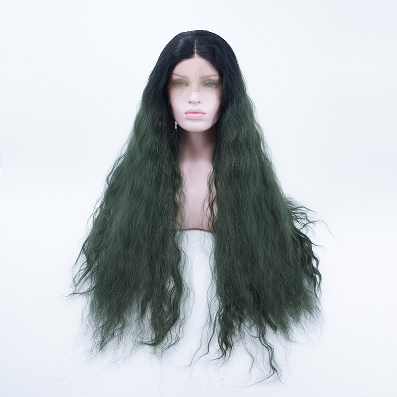 Synthetic Wigs 24daily Green Curly Fluffy Women Long Halloween Fashion Lace Front Wig Heat Resistant+cap H793264 To Make One Feel At Ease And Energetic