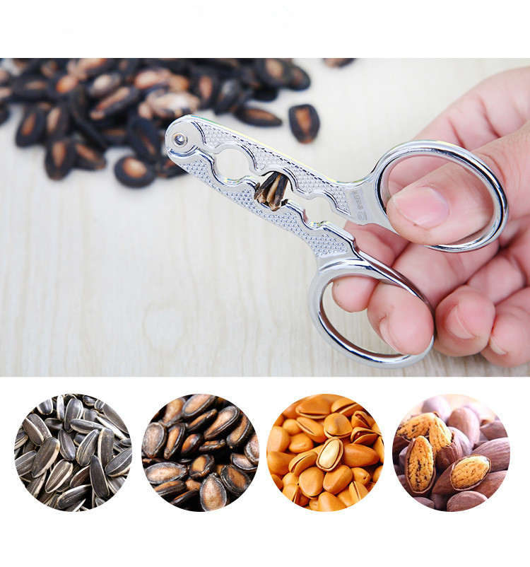 Home Walnut Pine Clamp Plier Scissor Opener Nut Cracker Melon Seed