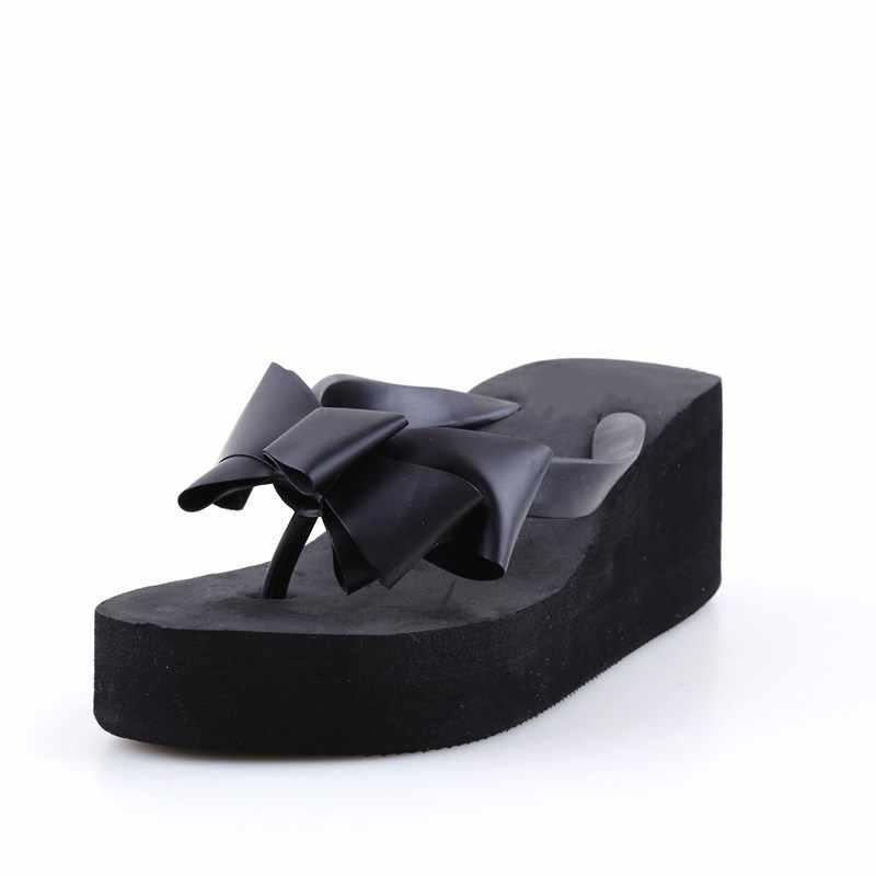 4c7083b331f1 ... 1pair Summer Flip Flops Women Fashion Sandals Shoes Women s Beach  Slippers Bow Mid Wedge Heel Flip