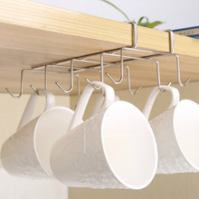 Stainless Steel Kitchen Storage Rack Dish Hanger Cupboard Hanging Hook Shelf Bathroom Organizer Home Tableware Holder(China)