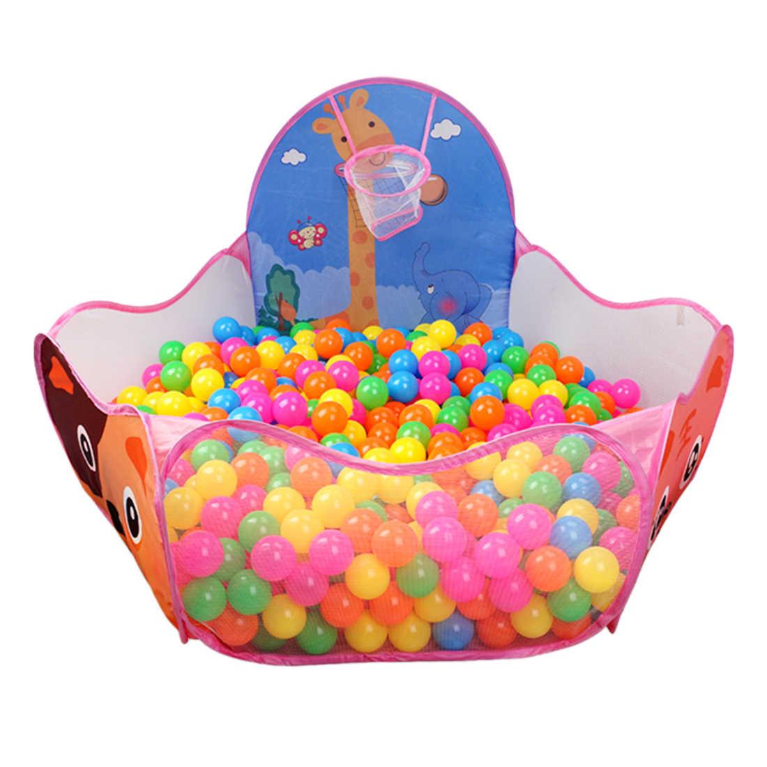 Portabel Cute Hexagon Polka Dot Anak-anak Boks Bola Pit Indoor dan Outdoor Mudah Lipat Bermain Tenda Rumah dengan Tote Bag -Berwarna Merah Muda