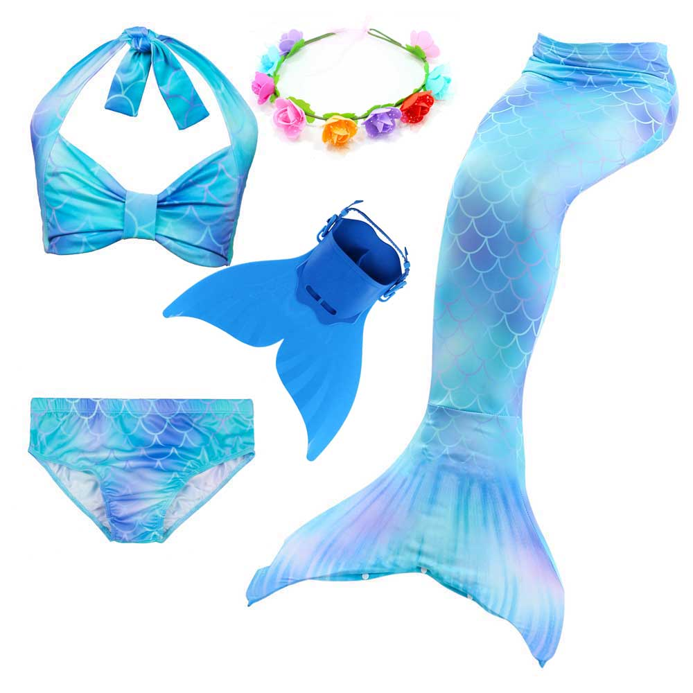 Girls Tube Tops Shorts Mermaid Tail With Monofin Swimsuit For Swimming Cosplay Kids Princess Fancy Dress Of Mermaid Costume