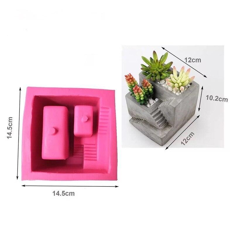 Moule en ciment Silicone béton échelle carrée Pot de fleur moules plâtre à la main argile artisanat coulée béton Pot moule fournitures