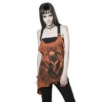 New Gothic Irregular Print Sleeveless Vest for Women Fashion Female Summer Punk Sexy Backless Tank Tops Belt Joker Loose Shirts