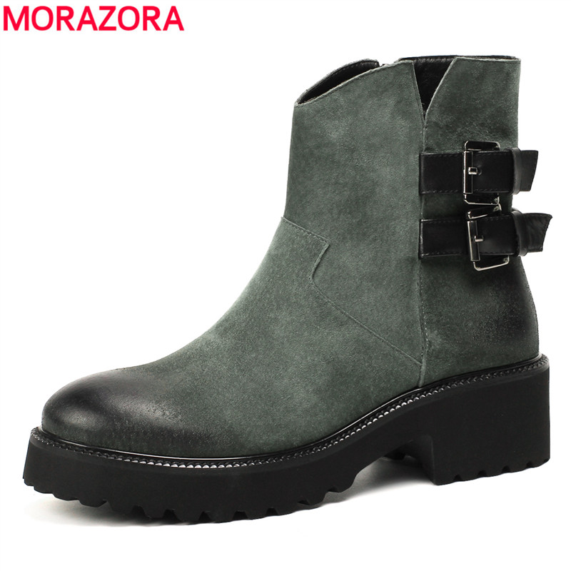 MORAZORA 2018 new fashion shoes woman genuine leather autumn winter boots zip fashion  boots platform ankle boots womenMORAZORA 2018 new fashion shoes woman genuine leather autumn winter boots zip fashion  boots platform ankle boots women