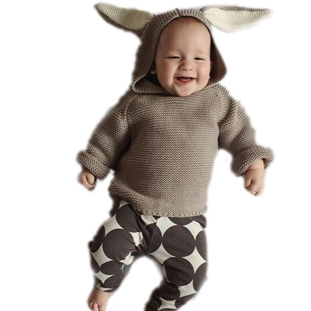 Baby Girl Clothes Sweater Girl Baby Cardigan Children Sweaters Hooded Cute Rabbit Ears Boys Girls Sweater Wool Cotton Knitwear
