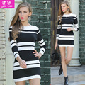 2016 mujeres de la manera dress otoño invierno vestidos de suéter largo del o-cuello de manga larga de punto dress flaco slashed pencil dress