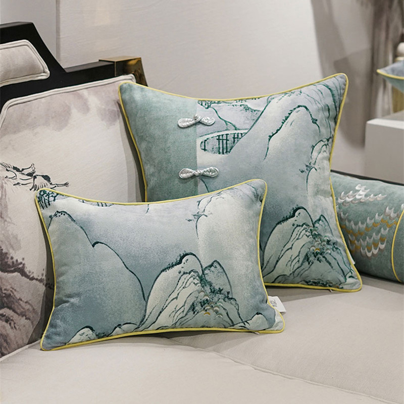 Elegant landscape cushion cover embroidery pillow cover grey green yellow beige cojines Cojines decorativos para sofas