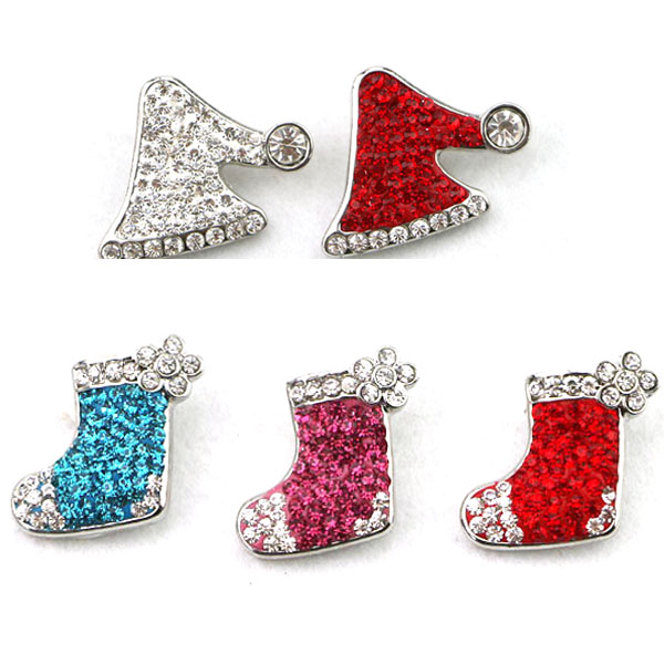 Factory wholesale high quality Christmas Ginger Snap Buttons Full Rhinestone Xmas Stocking Hat Metal Button Charm Jewelry Gift