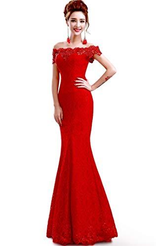 Misshow Русалка вечернее платье Розовое Кружевное длинное вечернее платье Элегантное с открытыми плечами без рукавов robe de Soiree - Цвет: Red