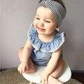 Девушка новорожденный одежда 2017 Лето Рукавов синий Футболка + шорты костюм next детская одежда девушки летний набор для новорожденных bebes