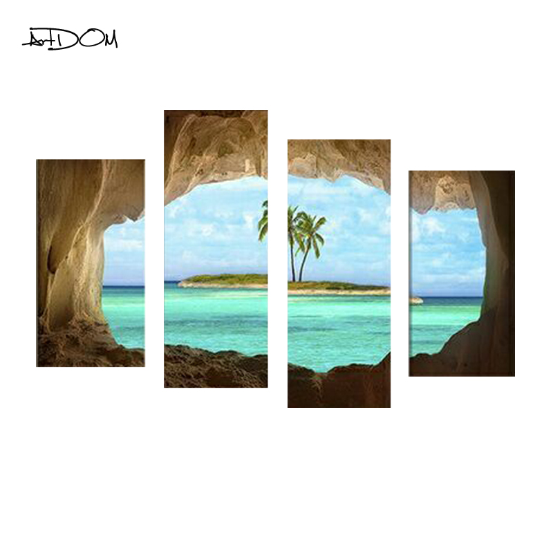 Artdom 4 Pcs/set No Frame Ocean Beach Coconut Tree Landscape Painting Picture Canvas Art Home Decor Wall Pictures For Living Roo