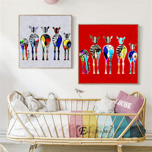 Colorful Zebra Family Butt Funny Wall Art Canvas Painting Poster For Home Decor Posters And Prints Unframed Decorative Pictures(China)