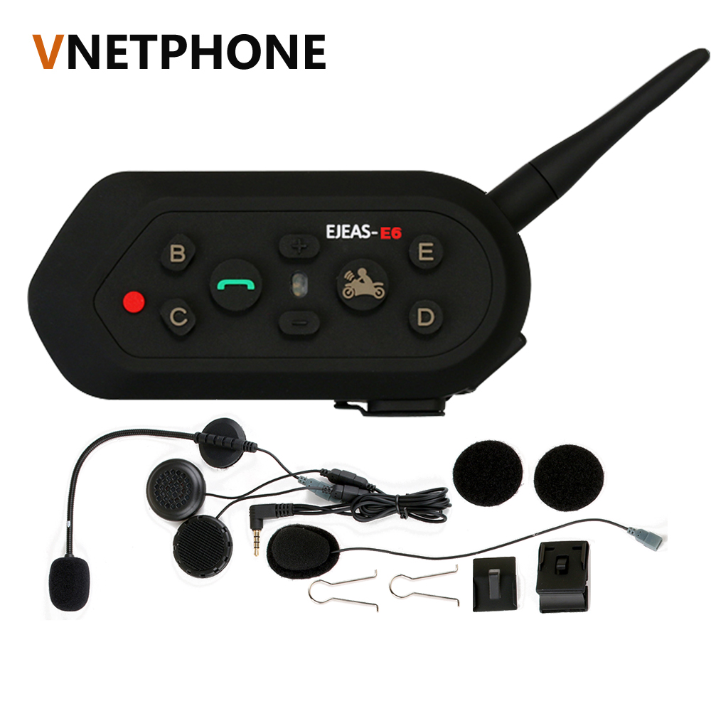 Vnetphone E6 Bluetooth 3.0 Motorcycle Intercom 6 Rider Full Duplex 1200M Communication Helmet Interphone VOX Headset BT Intercom vnetphone v8 1200m bluetooth intercom motorcycle helmet interphone headset nfc remote control full duplex fm including one mask
