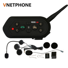 Vnetphone E6 Bluetooth 3.0 Motorcycle Intercom 6 Rider Full Duplex 1200M Communication Helmet Interphone VOX Headset BT Intercom